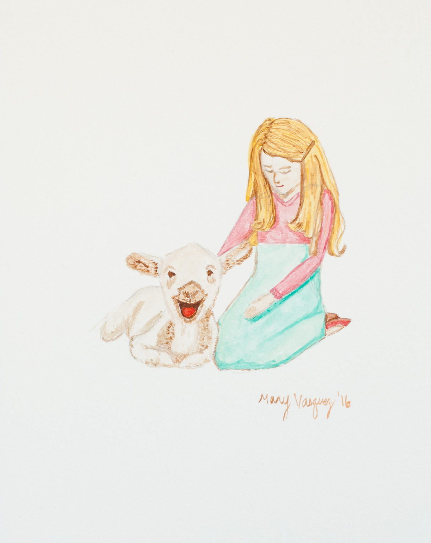 Watercolor Painting - Mary and her Lamb