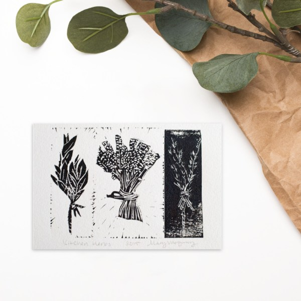 This is an image of three black kitchen herbs which are printed on white paper.