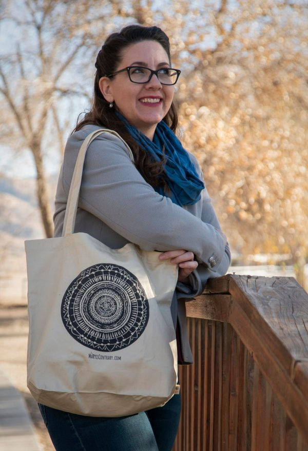 Artist Mary Vasquez with her Mandala Bag available for sale.