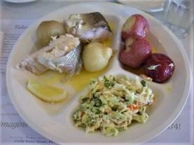 Fish boil dinner: Whitefish, potatoes, onions, coleslaw. Yum