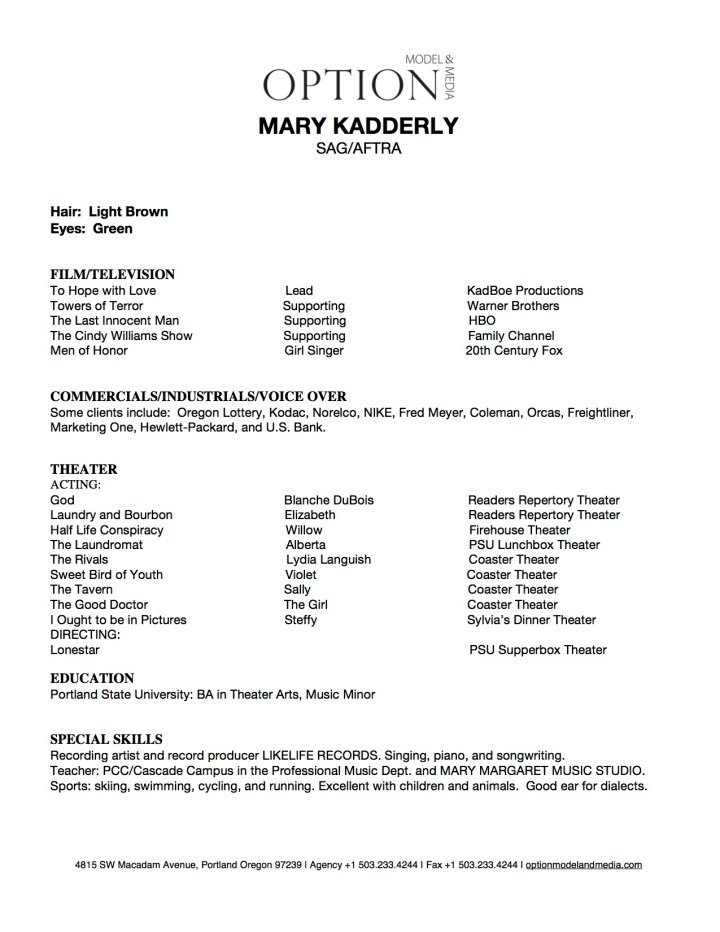 Microsoft Word - Mary Kadderly Resume