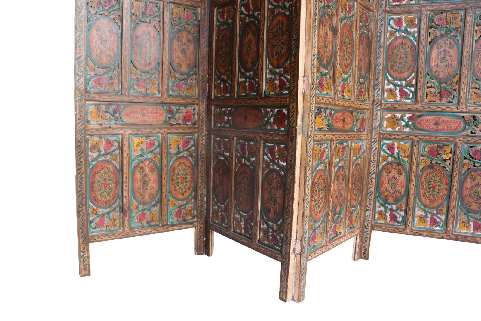 Four Panel Hand Carved Indian Screen Room Divider