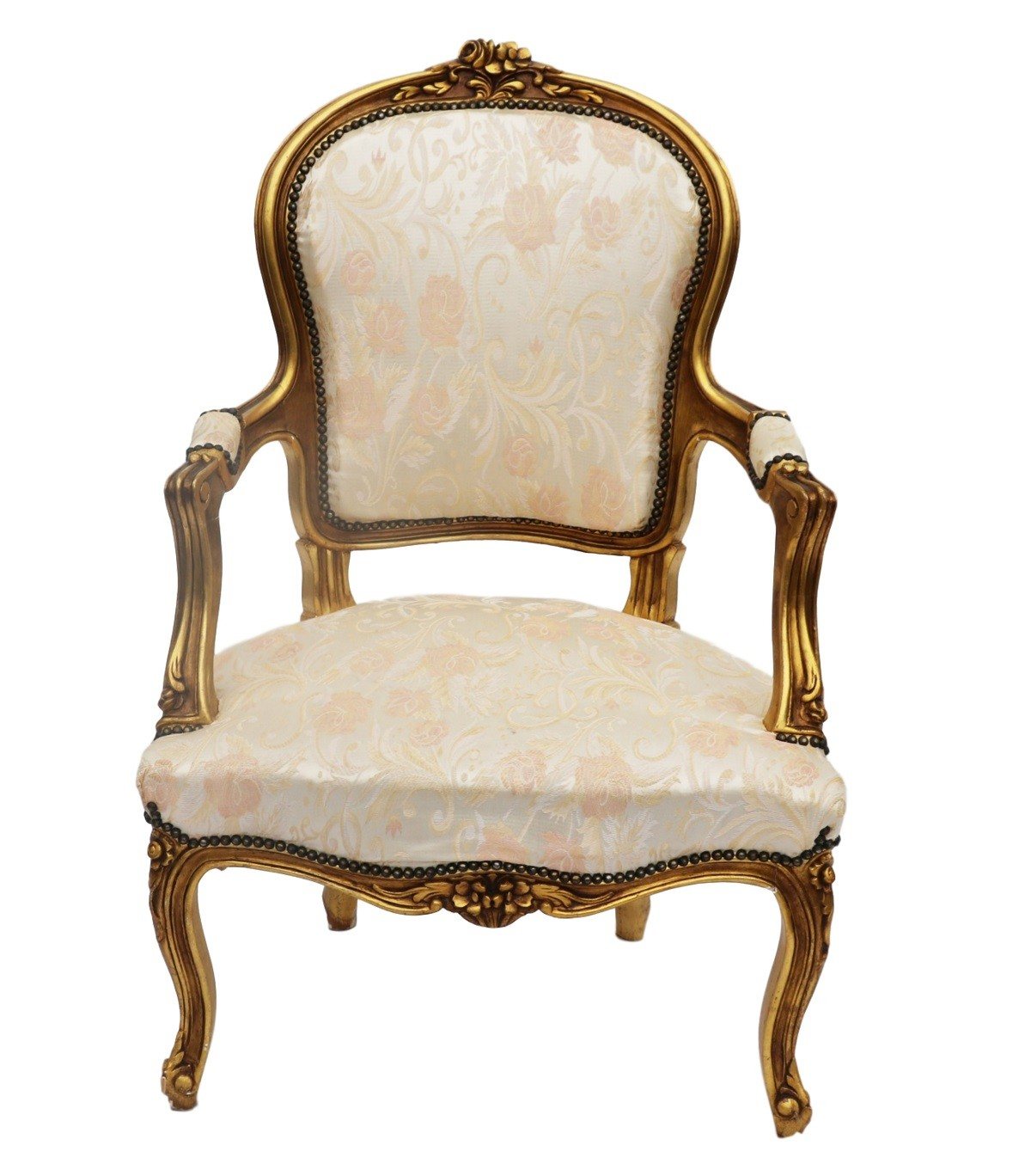 french louis chair bamboo directors chairs xv style carved gilt wood fauteuil arm