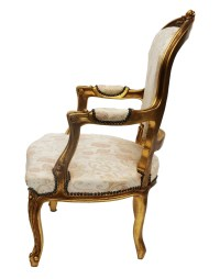 French Louis XV Style Carved Gilt wood Fauteuil Arm Chair ...