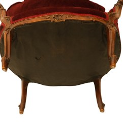 French Louis Chair Vibrating Baby Safe Xv Style Carved Walnut Upholstered Arm