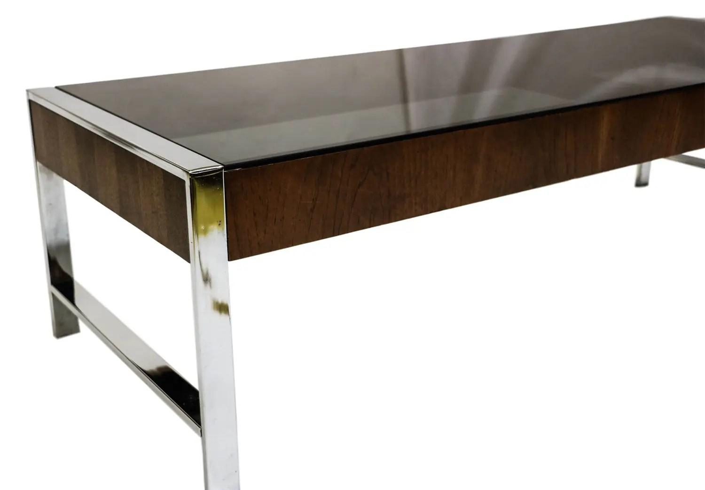 Mid Century Chrome Smoked Glass Coffee Table Milo Baughman