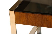 Mid Century Chrome Smoked Glass Side Table Milo Baughman ...