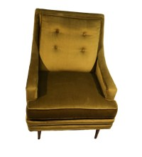 Mid Century Green Velvet Lounge Chair