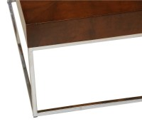Mid-Century Modern Walnut Chrome Square Coffee Table