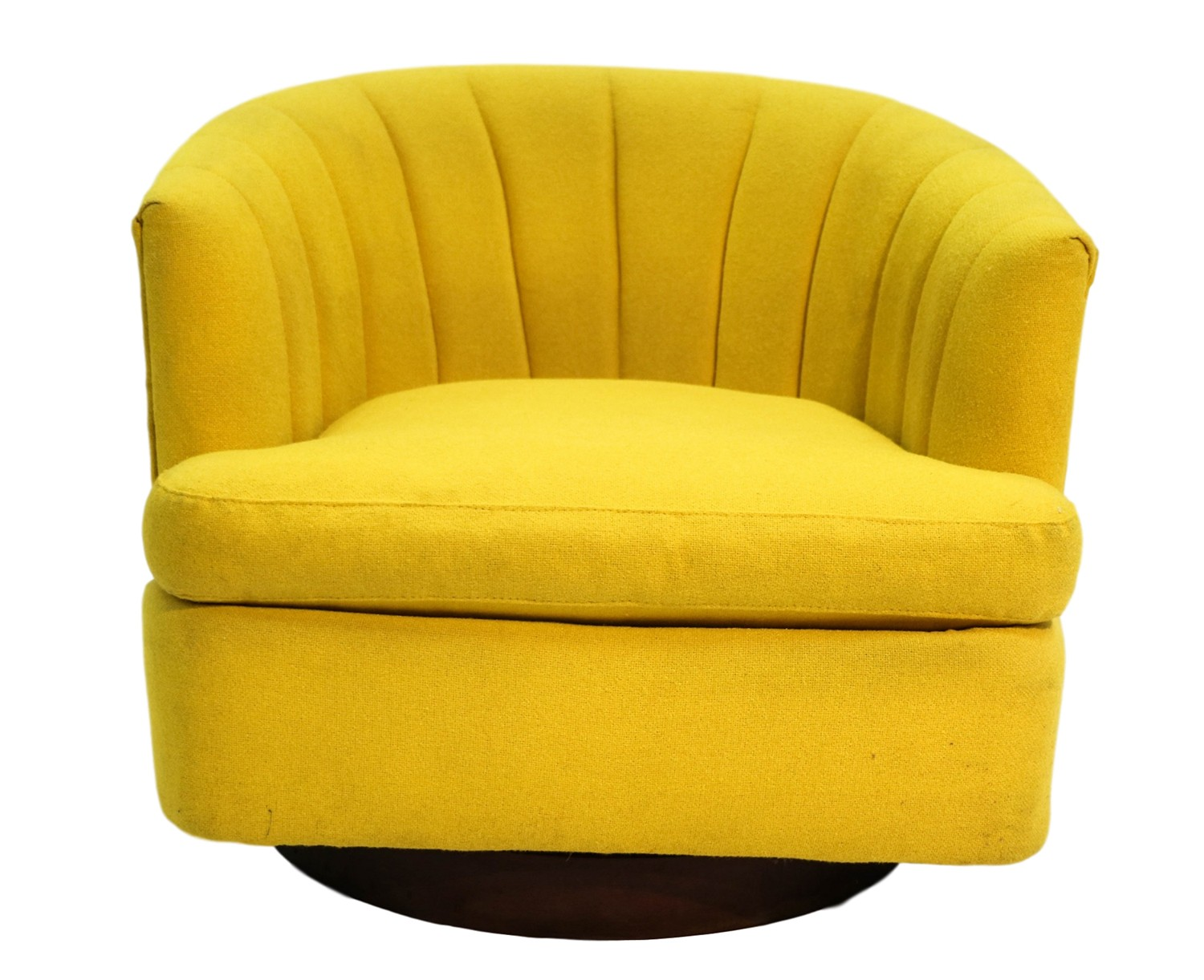 MidCentury Yellow Swivel Tub Chair Milo Baughman Style