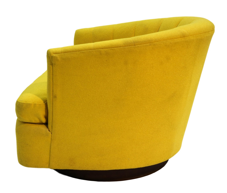 MidCentury Yellow Swivel Tub Chair Milo Baughman Style