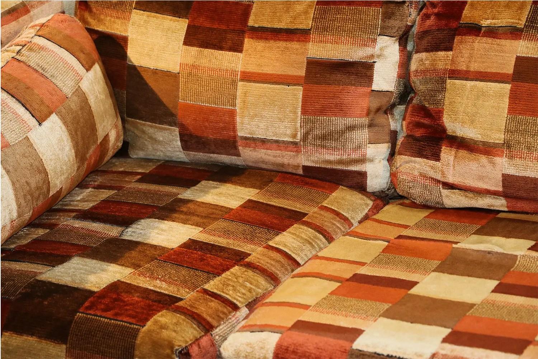 Mid century sofa Milo Baughman style Jack Lenor Larsen
