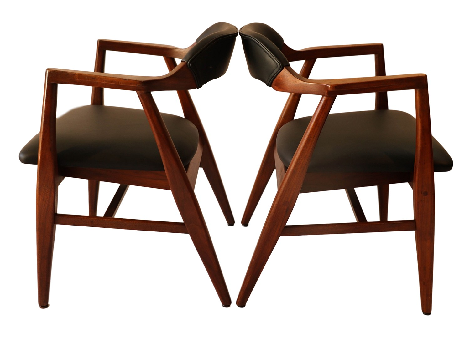 Midcentury Chairs Pair Mid Century Modern Leather Side Chairs