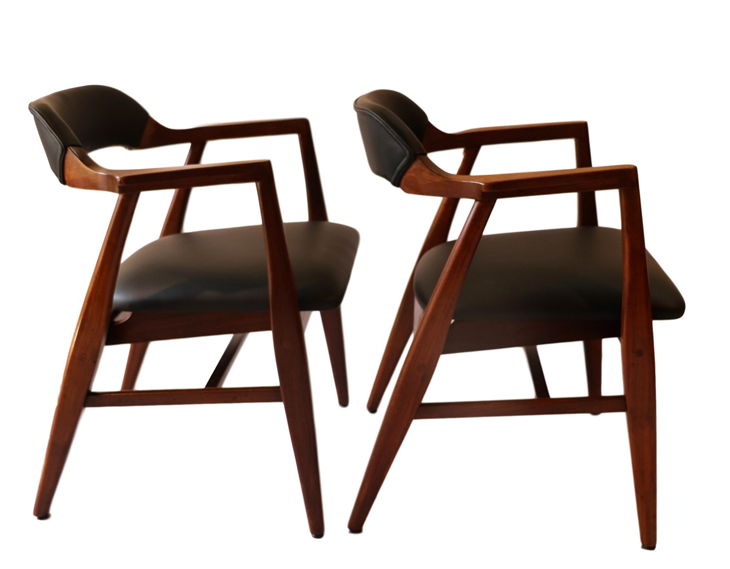 mid century modern side chair amish poly adirondack chairs pair leather