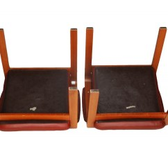 Ekornes Chair Accessories Stool With Cushion Pair Of Leather And Teak Wood Chairs