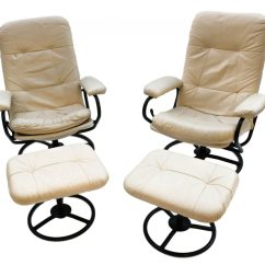 Chairs And Ottomans Upholstered Foldable Patio Beautiful Pair Mid Century Modern Ekornes Stressless Reclining Lounge