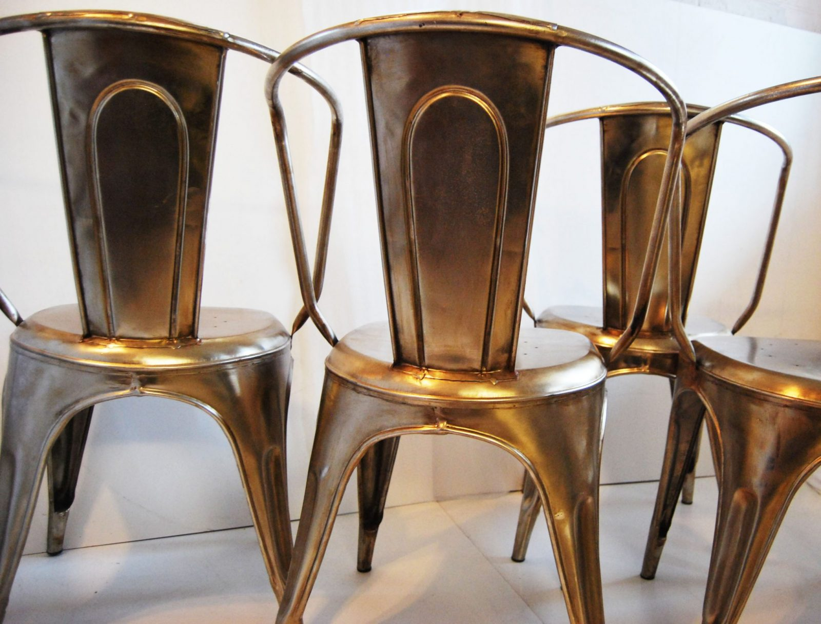 French Cafe Chairs Bouchon French Industrial Steel Cafe Side Chair Set Of 4