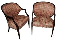 A pair of Federal style mahogany and upholstered armchairs
