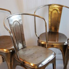Four Chair Dining Set Leather And Wood With Ottoman Bouchon French Industrial Steel Cafe Side - Of 4