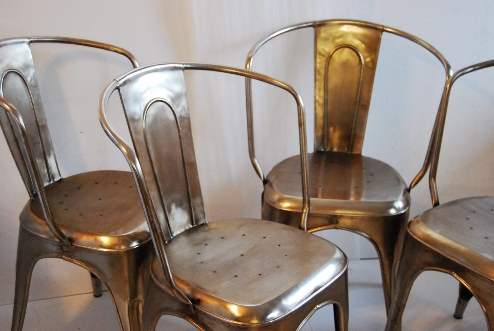 desk chair tall patio repair vinyl strap bouchon french industrial steel cafe side - set of 4