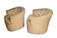 Milo Baughman Style Mid Century Swivel Club Lounge Chairs ...