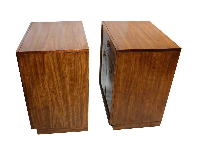 Mid Century Edward Wormley Drexel Burl Wood Nightstands Cabinets Pair