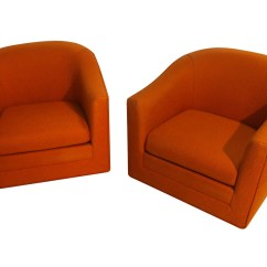 Swivel Lounge Chairs Nice Dining Room Chair Covers Pair Milo Baughman Style Mid Century