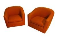 Pair Milo Baughman Style Mid Century Swivel Lounge Chairs
