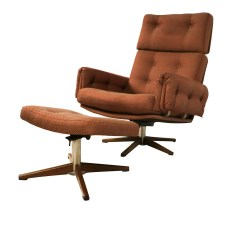 Office Lounge Chair And Ottoman Vinyl Lawn Webbing Mid Century