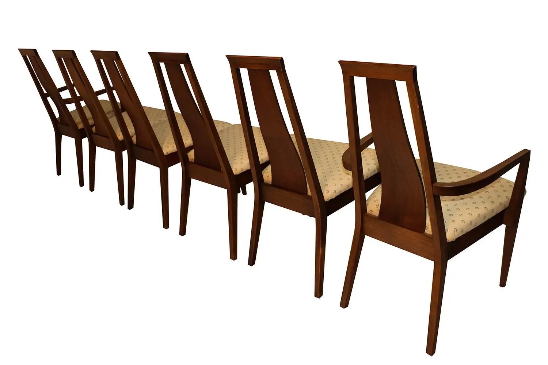Mid Century Modern Six Walnut Dining Chairs American of