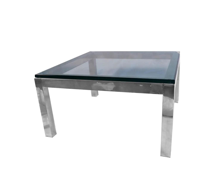 mid century modern chrome glass coffee table milo baughman style