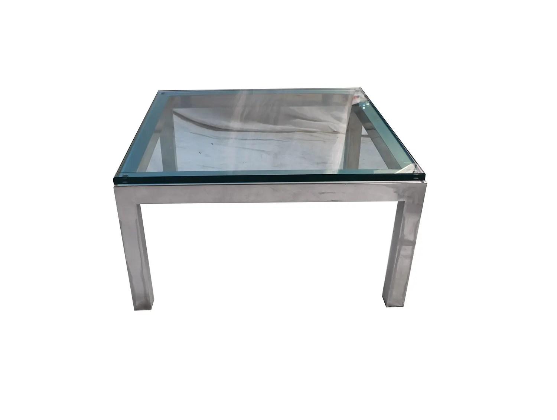 mid century modern chrome glass coffee table milo baughman style mary kay s furniture