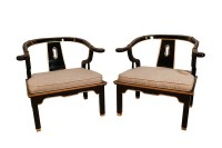 Chinese Style Black Horseshoe Chairs James Mont For Century