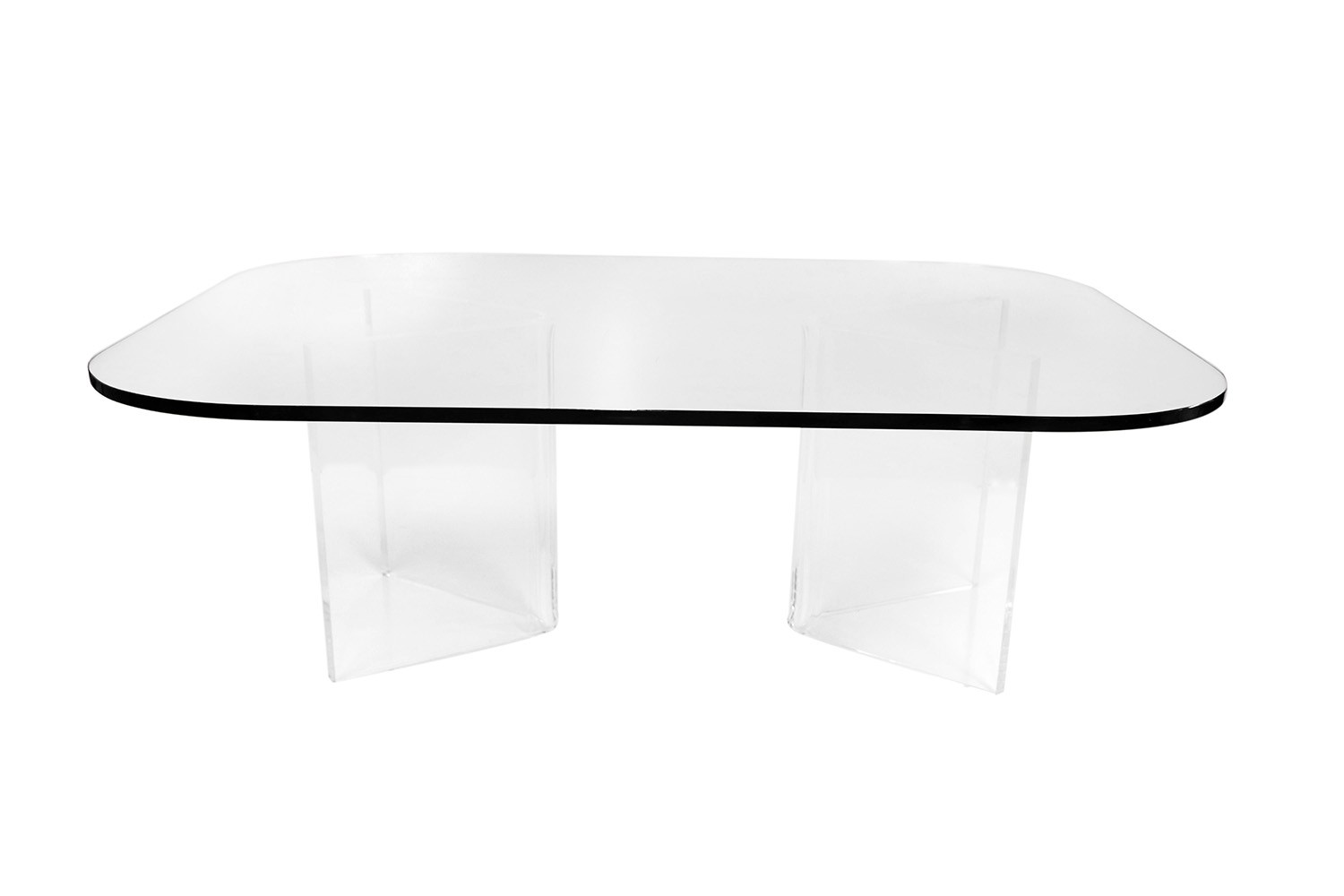 Mid Century Modern Lucite Base Glass Top Coffee Table