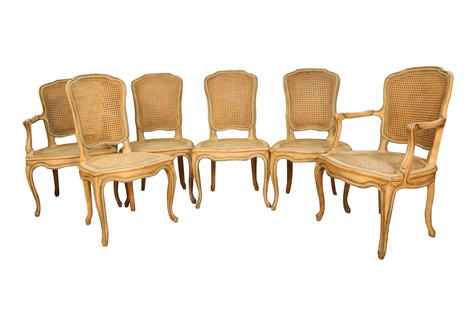 dining chairs with caning tables and for restaurants second hand six french painted caned rococo style