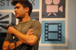 """Zac Efron addresses the audience after a screening of his movie """"At Any Price"""" at The Paramount Theater."""