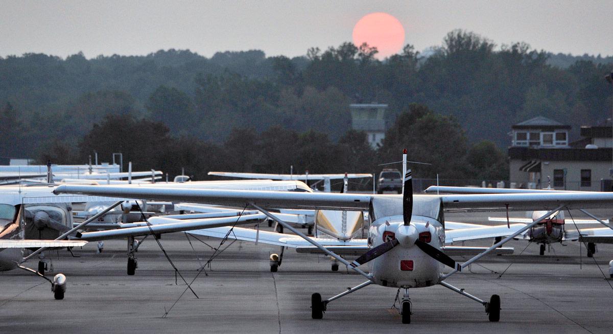 sunrise on the tarmac at Tipton Airport