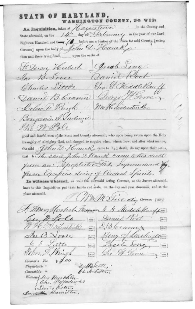 Coroners Inquisition into the Death of John D. Hauck 14 Feb 1870