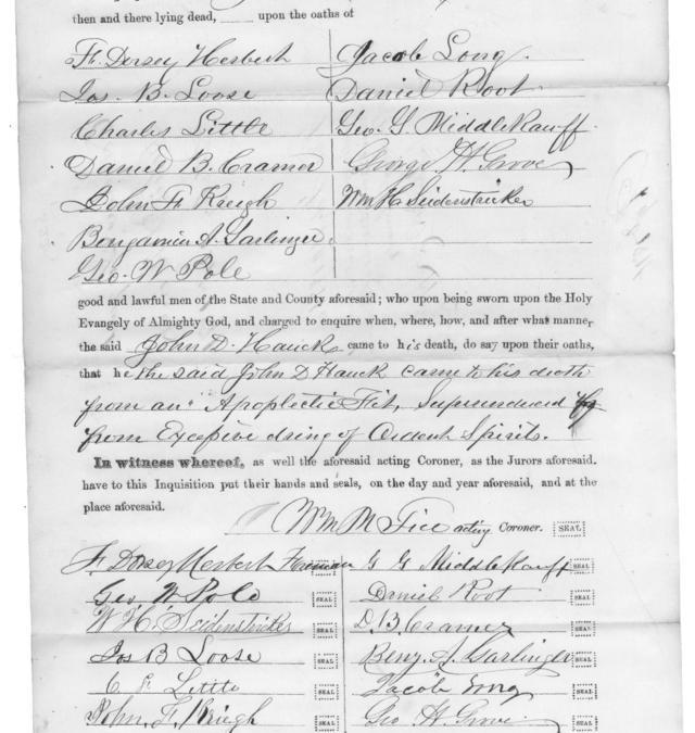 Washington County Maryland Coroners Inquests 1853 – 1939