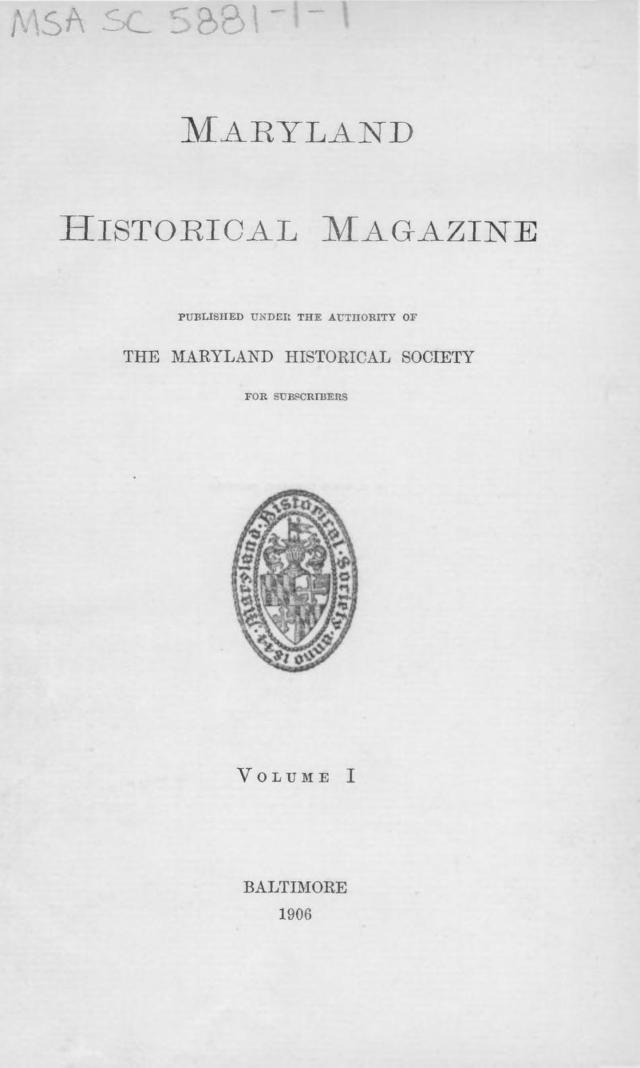 Maryland Historical Magazine vol 1 Title Page