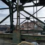 steel cross braces beneath crane