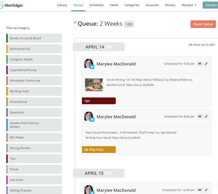 MeetEdgar tool author platforms