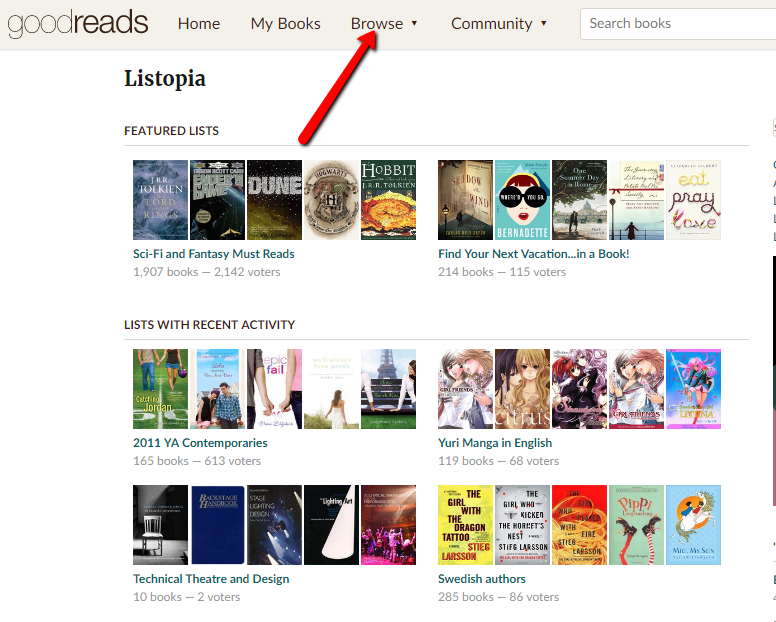 Goodreads reviews Listopia