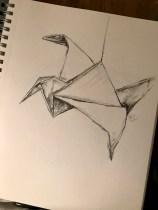 Paper Crane, graphite