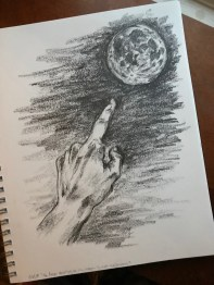 Finger pointing at the moon, graphite