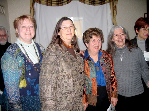 Photo left to right: Graeme Sullivan, Maryl Fletcher de Jong, Marjorie Cohee Manifold, Enid Zimmerman, Teri Marche, and Mary Stokrocki at Enid's 2006 retirement party in Chicago organized by Deborah Smith-Shank.