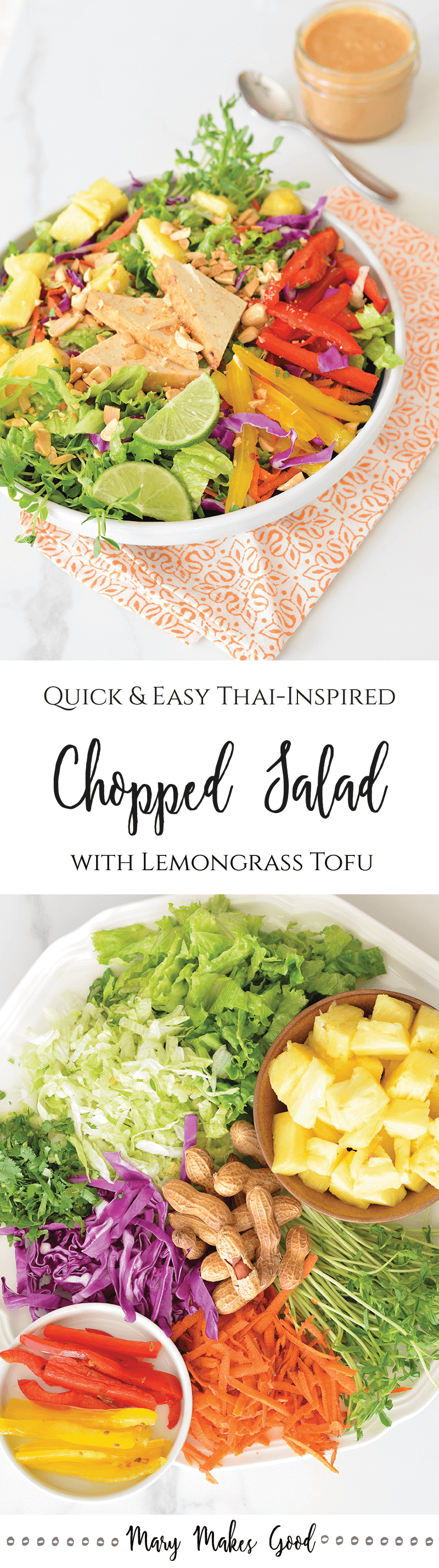 Crunchy Chopped Salad with Lemongrass Tofu & Peanut Dressing - A Quick and Easy Recipe with Tons of Flavor!