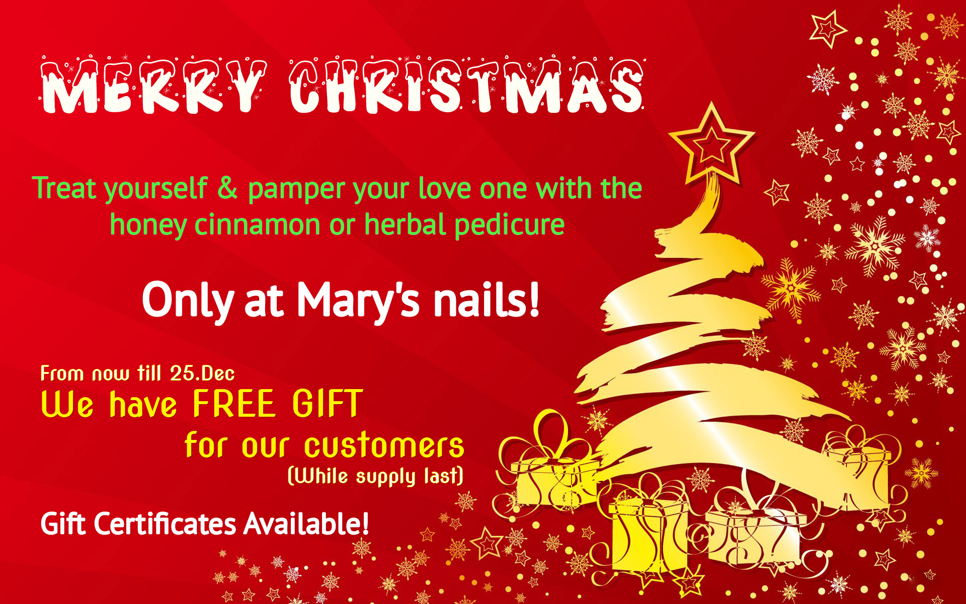 Merry Christmas Free Gifts | Mary\'s Nails & Spa