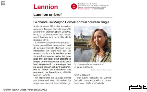 Ouest-France Lannion - Single Soleil - - Maryon Corbelli - 2020