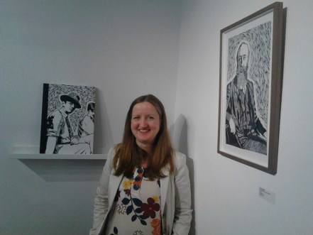 Mary pictured with the book and prints at Graphic Studio Gallery